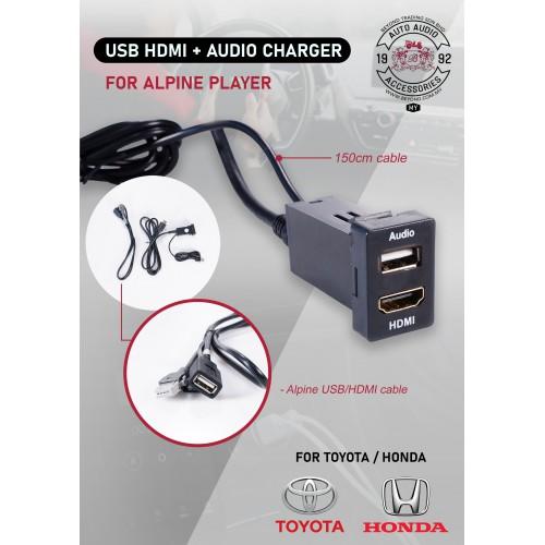 ALPINE PLAYER AUDIO USB & HDMI CABLE (TOYOTA/HONDA) - 1.5 METER